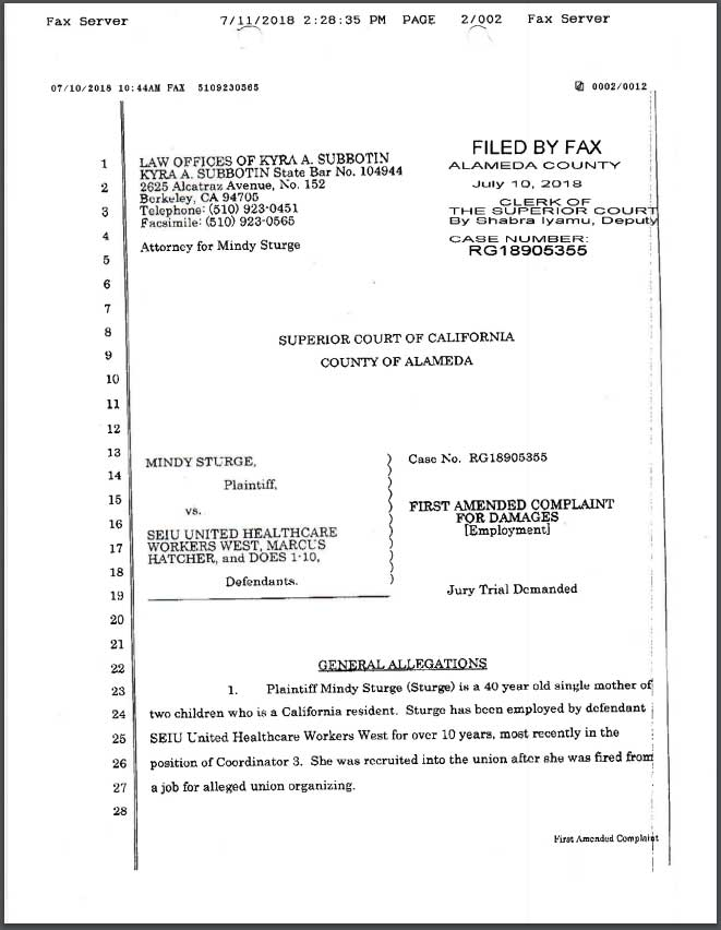 Lawsuit against SEIU-UHW and Marcus Hatcher